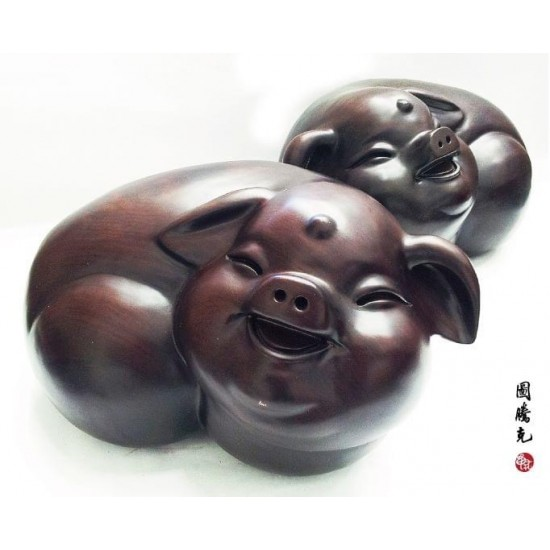 黑檀幸福對豬(一對/組)